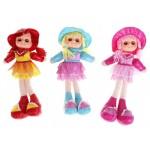 Мягкая кукла с кружевами в шляпке с косичками 37 см цвета микс