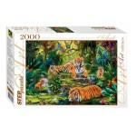 Пазлы 2000 элементов.  StepPuzzle В джунглях. Тигры