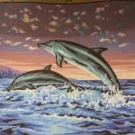 "Канва с рисунком Collection D'art ""Два дельфина"" 40*50"