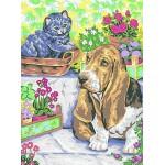 """Канва с рисунком Collection D'art  """"Собака с кошкой"""" 30*40"""