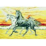 """Канва с рисунком Collection D'art  """"Две лошади"""" 30*40"""
